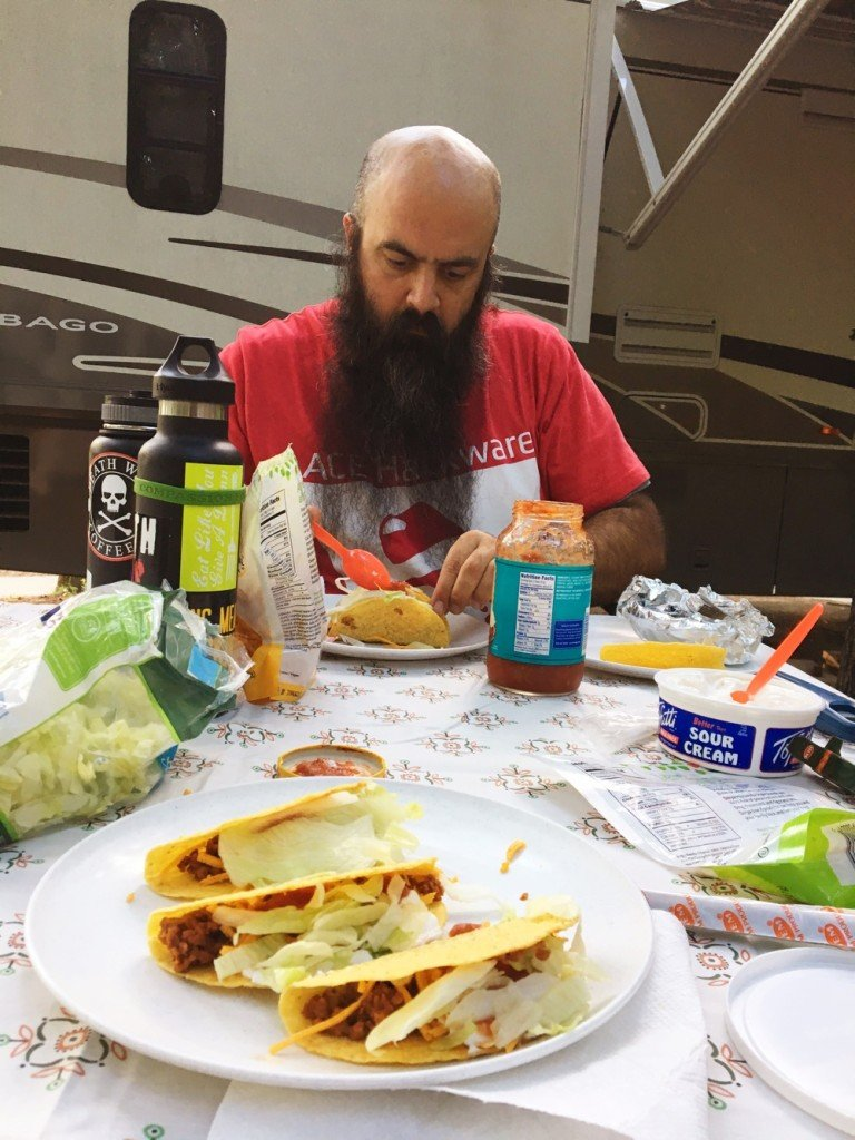 tacos while camping