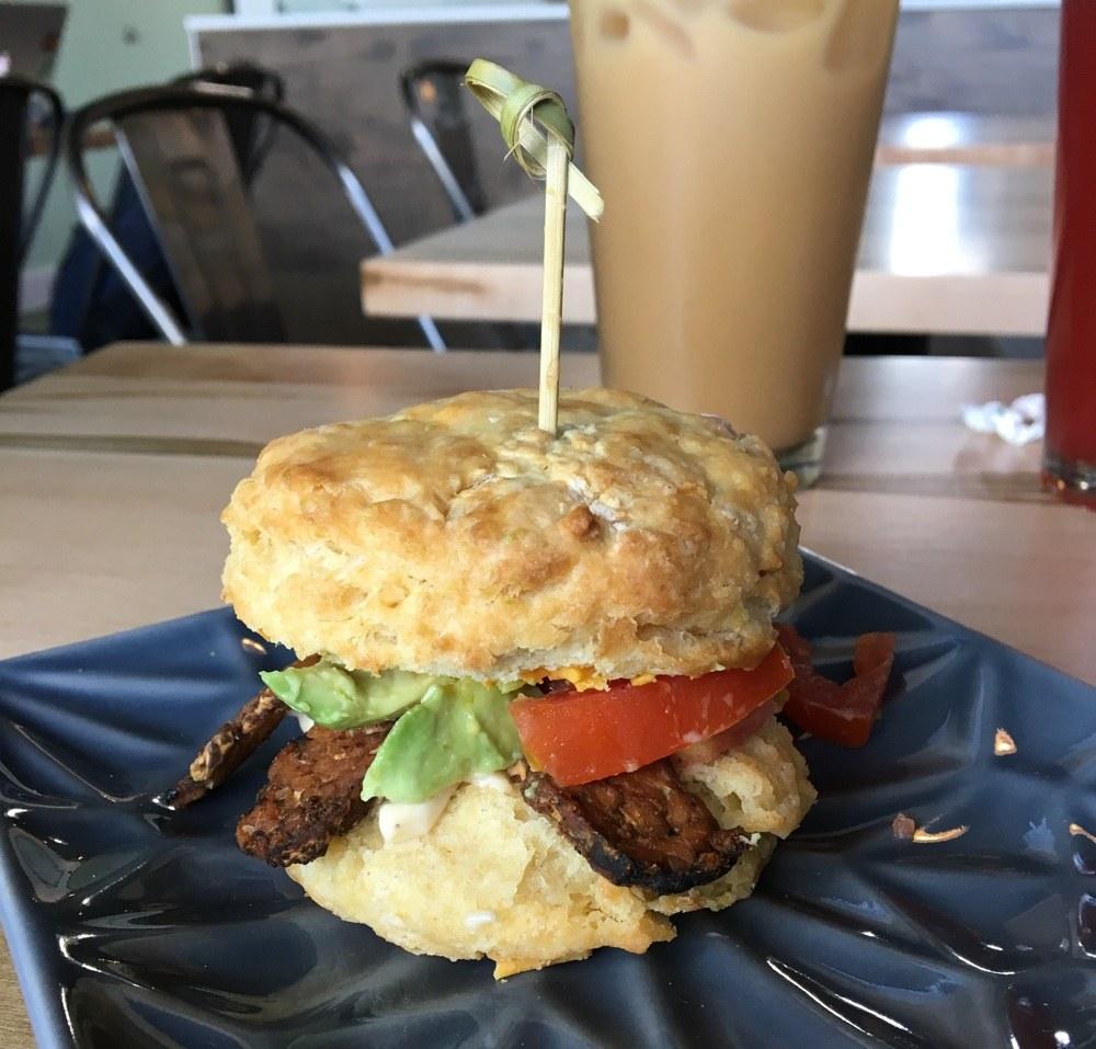 vegan breakfast biscuit at karma cream.