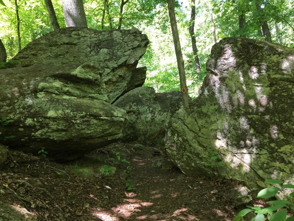 boulder at high falls state park.