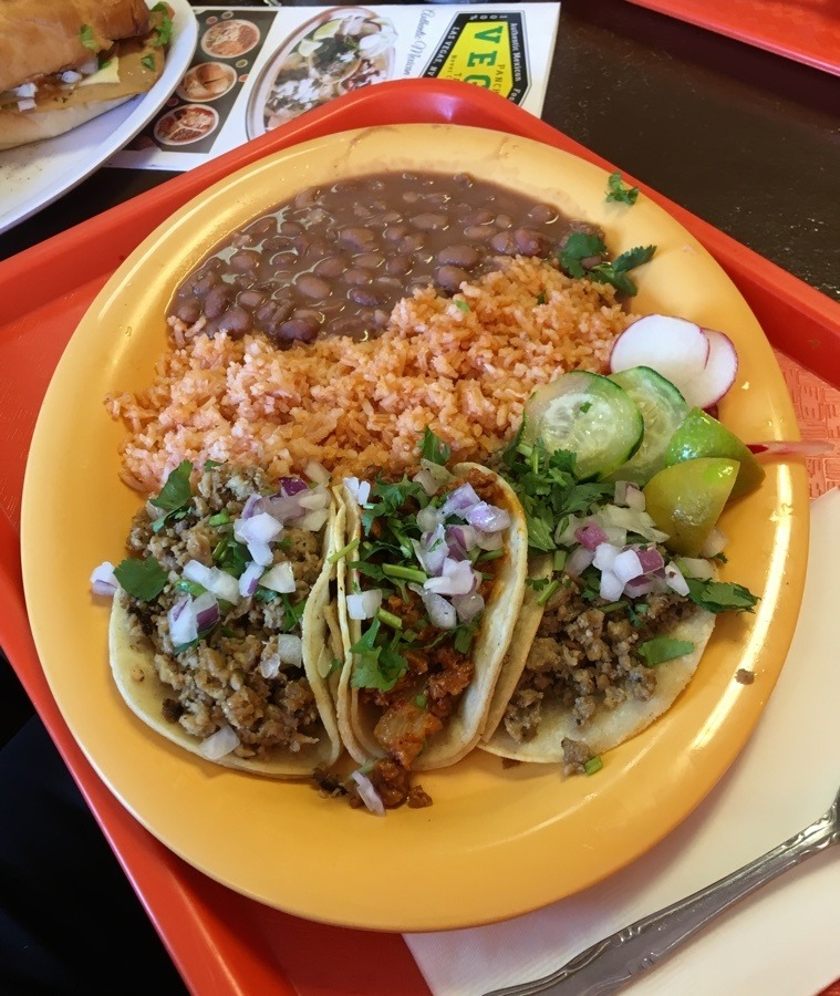 Street tacos rice and beans at Pancho's Vegan Tacos.