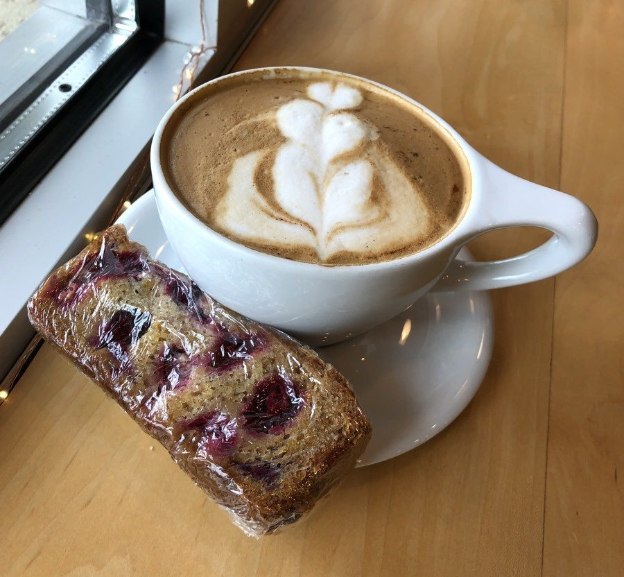 coffee and cranberry bread at little owl cafe in fairbanks.