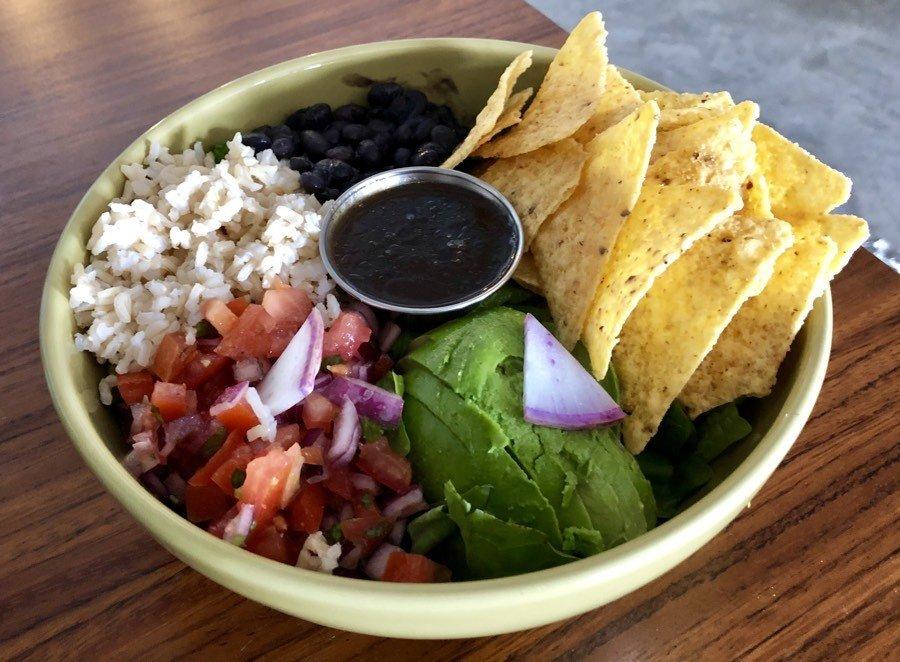 mexican bowl at chula vegan cafe in san jose del cabo, bcs, mexico.