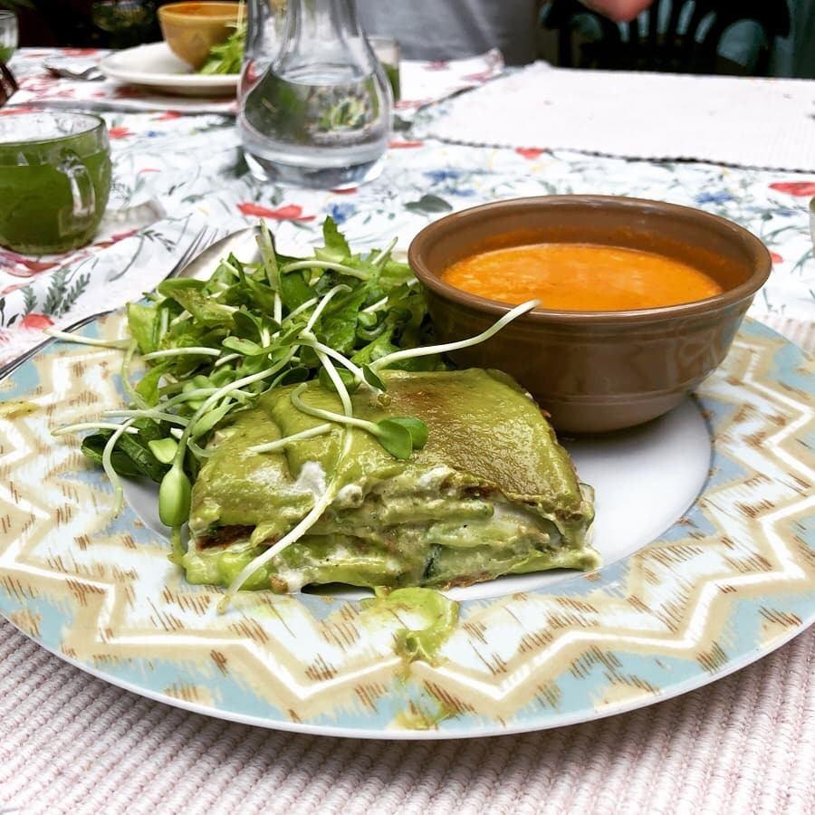 avocado poblano enchiladas at turtle lake cafe in durango, colorado.