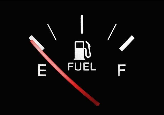 a vehicle fuel gauge on empty.