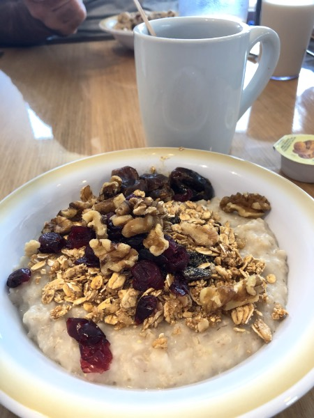 oatmeal and coffee on a table at the windjammer cafe on a royal caribbean ship.