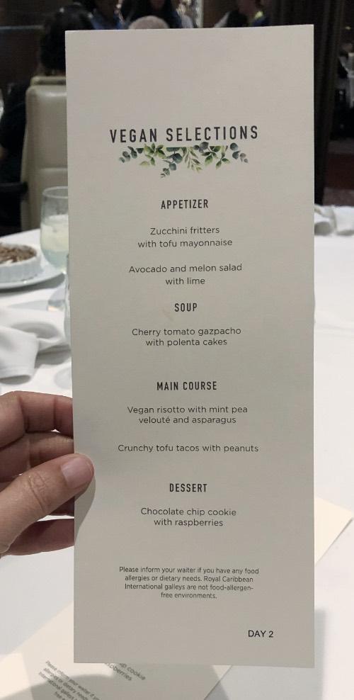 printed royal caribbean vegan menu from day 2.
